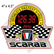"SCARAB Wellcraft W boat decals stickers Worlds Fastest V-Hull 4""x4.5"""