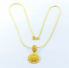 Wholesale 24K Yellow Gold Plated Jewelry Solid Round Flower Women Necklace JP034