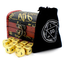 Gold D6 Metal Gaming Dice with Storage Chest for Tabletop Games