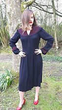 1930s Black Crepe Dress with Red Embroidery Great for Goodwood Revival or Ascot