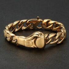Herren Gelbgold Boxhandschuh Armband Panzerkette Edelstahl 750er Gold vergoldet