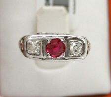 ANTIQUE 14K WHITE GOLD THREE STONE RING W/ RUBY & TWO ROSE CUT DIAMONDS.SIZE 3.5