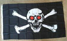 Skull Red Eye flag 3 X 5 ft. polyester 2 Grommet holes one side