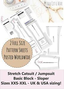 STRETCH CATSUIT - JUMPSUIT PATTERN BLOCK SIZE XXS to XXL SLOPER -PATTERN CUTTING