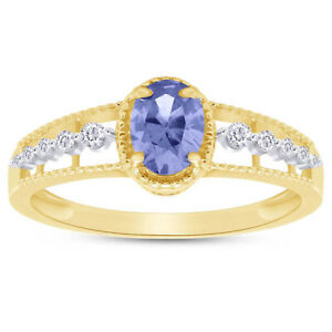 Oval Tanzanite & Simulated Diamond Solitaire Ring 14K Yellow Gold Over Sterling