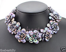 Statement Necklace Black coin black freshwater pearl  flower  choker necklace