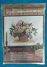 "Paragon Crewel Stitchery VINTAGE Needlepoint Kit #0816 Flowers ""Bright In Corner"