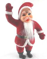 Tall 10 Inch Standing Vintage Waving Santa Christmas Ornament Kitsch MCM Felted