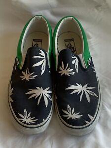 RARE Vans Palm Pot Peace Leaf Weed Navy Green Excellent Men's Slip on size 12