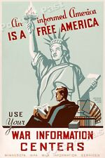 1940s An Informed America is a Free America WWII Historic War Poster - 20x30