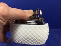 Vintage, Ronson 'Goddess' Milk Glass Diamond Pattern Butane Table Lighter, Works