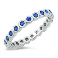 Ring Genuine Solid Sterling Silver 925 Blue Sapphire CZ Band Width 3 mm Size 9
