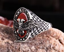 Turkish 925 Sterling Silver Double Headed Eagle Agate Aqeeq Mens Ring ALL SİZE
