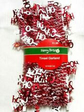 Red & White Christmas Hohoho Mini wire Tinsel Garland Merry Brite 12ft