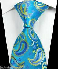 New Classic Paisley Light Blue Yellow JACQUARD WOVEN 100% Silk Men's Tie Necktie