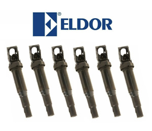6 x Updated Ignition Coils with Spark Plug Connectors ELDOR OEM for BMW