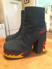 RARE UNIF Women's Stax Denim Flame Platform Shoes Women's Size 9