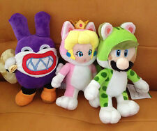 3pcs Super Mario World Cat Luigi & Rosalina & Peach Princess Plush Doll Lot