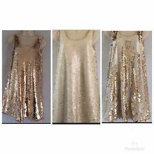 Zara Small S Sequin Dress Gold Cream Colour Change Sparkle Evening Party Short