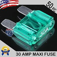 50 Pack 30A AMP Platinum Plated Large Audio Blade MAXI Fuse 12V 24V 32V Auto US
