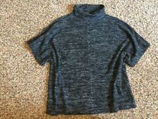 Banana Republic Black Marled Turtleneck Sweater Shirt Short sleeve Oversize XS