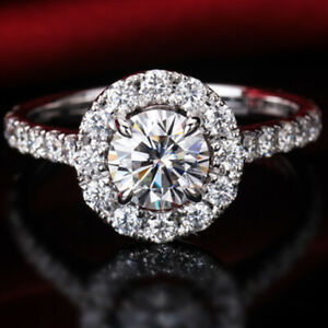1.98 TCW Round Cut Brilliant Moissanite Engagement Ring in 14K White Gold Plated