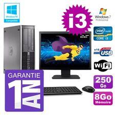 """PC HP 8200 SFF Intel I3-2120 8Go Disque 250Go Graveur Wifi W7 Ecran 22"""""""