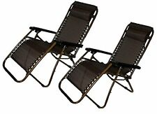 Patio Lawn Chair Folding Outdoor Home Garden Furniture Canopy Head Rest Brown