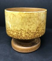 Vintage Haeger USA MidCentury Gold Yellow Brown Glazed Footed Planter