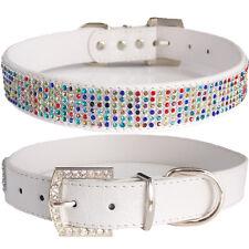 EXTRA LARGE Princess Fashion White PU Leather Multi color Bling XL Dog Collar