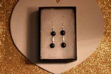 Beautiful Silver Earrings With Sunstone 3.9 Gr. 3.5 Cm. Long + Hooks In Gift Box