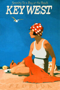 Key West Florida Keys Travel Poster Atlantic Gulf Beach Retro Art Deco Print 041