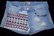 BERSHKA BSK Collection Women US 2 4 Eur 36 Embroidered Stud Denim Jean Shorts