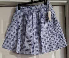 NWT Women's Isani White & Blue Embroidered Flare Skirt With Lining Size M