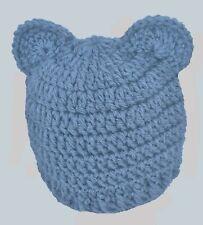 BOYS GIRLS CHUNKY TEDDY BEAR BEANIE HAT WITH EARS baby crochet photo prop denim