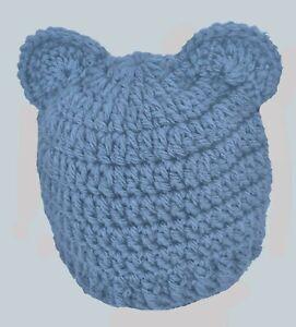 BABY BOYS GIRLS HAT CHUNKY TEDDY BEAR BEANIE WITH EARS crochet baby gift denim