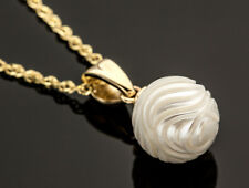 Galatea Hand-Carved White Freshwater Pearl Necklace 14K Yellow Gold 18 Inch iDu