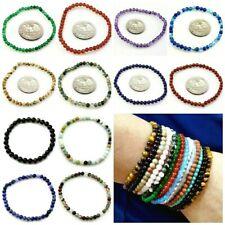 Handmade Natural Gemstone Round Bead Stretch Healing Reiki Bracelet 4mm 6mm kid
