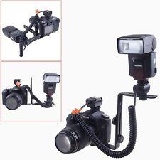 Photo Studio Double Dual Camera Bracket L-Shaped Flash Bracket Flashlight Holder