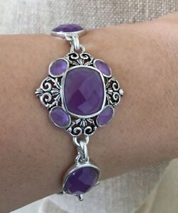 Genuine Amethyst with Silver Plated BARSE Bracelet