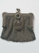 Porte monnaie-Ancienne Bourse Aumônière argent Sanglier -Pendentif Vierge argent