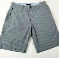 Banana Republic Mens Sz 34 Grey Plaid Bermuda Shorts Flat Front Cotton 5 Pocket