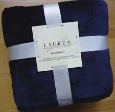 Ralph Lauren NAVY BLUE Micromink *Full QUEEN BED BLANKET Plush mink RL Emb Logo