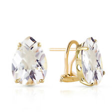 10 CTW 14K Solid Gold French Clips Earrings Natural White Topaz