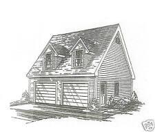 24x24 2-Car Garage Td / Rd / Interior Stairs to Loft / Building Blueprint Plans