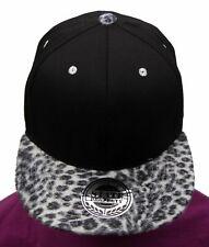 Black leopard snapback caps, baseball flat peak trucker fitted hats, unisex hip