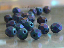 Matte Iris Blue Fire Polished Czech Glass Beads 6mm 25