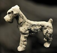 Vintage Cast Metal Wire Haired Fox, Irish Terrier Or Schnauzer Dog Pewter Figure