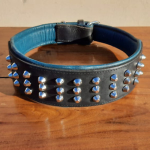 "New 3"" Wide Dog Collar Heavy Duty Metal Studded Leather Pet Collar For Pit Bull"