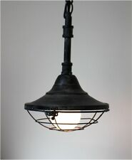 Subway Dock Light Industrial Factory Steampunk Style w Pipe & Cage Pendant